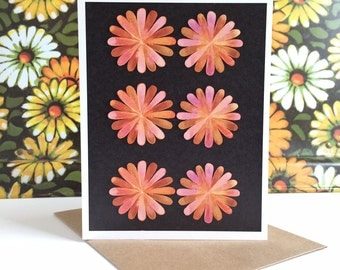 Pink Flowers Greeting Card: blank card A2