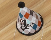Personalized Birthday Party Hat, First Birthday Party Hat, Gray Argyle, First Birthday Party Outfit, Baby Birthday Party