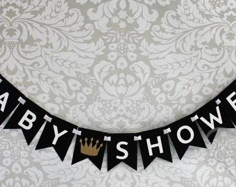 Little Prince Baby Shower Banner, in Black, White & Glitter Gold