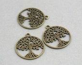 Tree of Life Charms Antique Bronze 6pcs zinc alloy pendant beads 25mm CM0739B