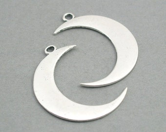 SALE Crescent Moon Charms Large Antique Silver 2pcs zinc alloy pendant beads 32X43mm CM0738S