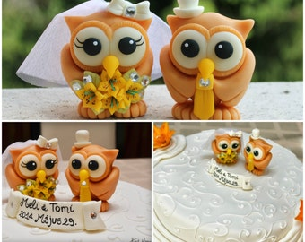 Owl cake topper for wedding, love bird bride and groom, lily bouquet