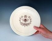 Bee Emblem Platter - Ceramic Plates - Handmade Housewares- Bee Gifts - Dinner Plate - 10% Donation - Pottery