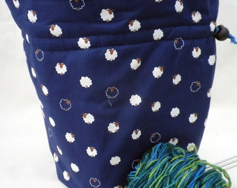 Sheep Project Bag. Small Drawstring bag ideal for knitting or crochet projects