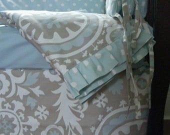 Baby Bedding Crib Powder Blue Grey  Choice of Fabrics