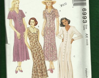 McCalls 6993 Princess Seam Dresses with Inverted Pleats at the Knee Front Buttons & V Necklines Sizes 4..6..8 UNCUT