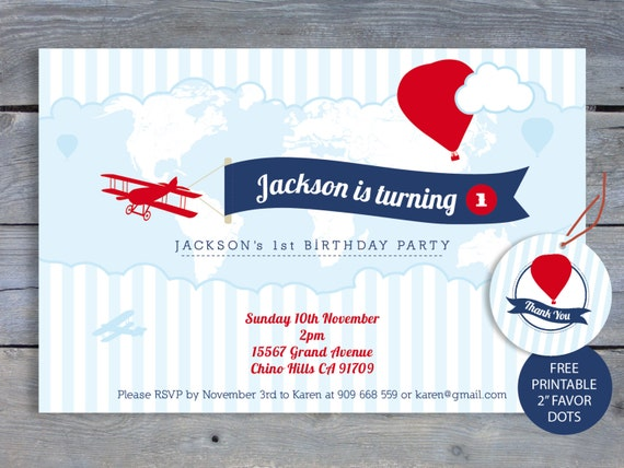 AIRPLANE Birthday Invitation 1st Birthday Party 6x4 Printable