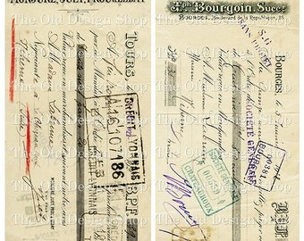 Vintage French Ephemera Invoice Receipt Aged Shabby Printable JPG Digital Collage Sheet