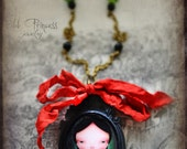 ON SALE!!! CHRISTINA Victorian Art Cameo Necklace By Odd Princess, Wearable Art, Whimsical Macabre Jewelry, Gift for Her