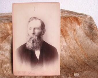 Cabinet Card Photo of Elderly Man with Long Beard