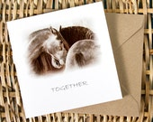 MOMENTO, captioned TOGETHER, Equine Art Card, Valentine, Greeting card, Horse photography, Rustic, fall colours