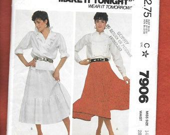 Vintage 1982 McCall's 7906 ROCKABILLY, Flared Four Gored Skirt With A Ruffled Hem, Size 14