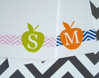 Personalized Notepad - Personalized Teacher Notepad - Monogram Notepad - Apple Notepad - You Pick Colors