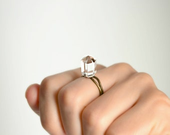 white quartz ring princess cut clear crystal ring gemstone pyramid ring adjustable hexagon