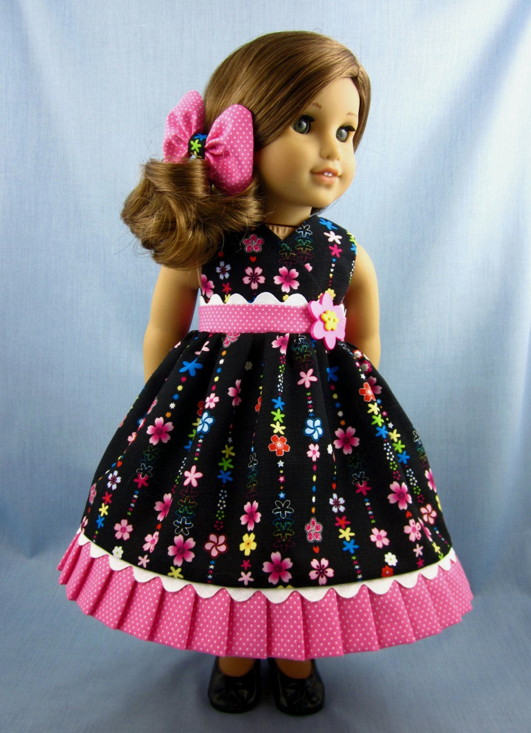 18 Inch Doll Clothes Sundress And Hair Bow In Black And