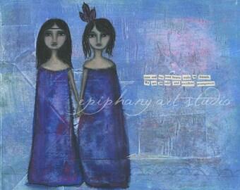 "8"" x 10"" Poem Art Wall Decor - ""Sister Spirits"" - Fine Art Giclee Print - Divine Feminine, Purple Blue, Kindred Best Friends Friendship Art"