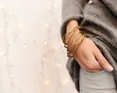 bracelet trio ARANDELAS-gold-brass-bangle-cuff-pack- set - eco friendly - organic - natural - minimalist - art jewelry - contemprary jewelry