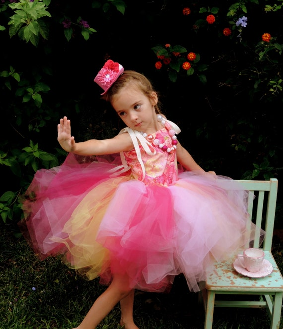 Girls tutu dress, pink rose tutu dress, pink tea party dress, yellow pink, birthday party dress, special occasion dress, princess dress