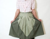 Vintage 70s Mod Sage and Olive Green Two Tone Colorblock Full Pleated Skirt