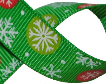 Snowflakes on Green Grosgrain 5/8 inch (16mm) wide