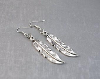 Feather Earrings,  Boho Earrings Silver, Long Feather Earrings, Bird Feather Jewelry, Angel Feather, Silver Feather Earrings, Nature Jewelry