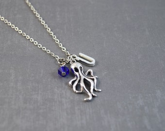 Silver Octopus Necklace - Octopus Nautical - Personalized Necklace - Octopus Pendant - Science Necklace - Animal Jewelry - Octopus Jewelry