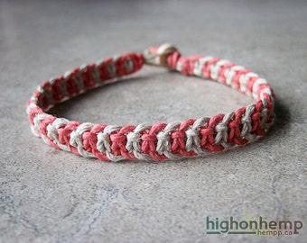 Coral Bracelet, Summer Bracelet, Summer Jewelry, Thick Bracelet, Hemp Bracelet