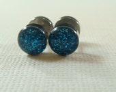 Glitter Deep Ocean Blue Fake Ear Plugs / fake gauges / fake plugs / fakers / deep ocean ear plugs / rhinestone plugs
