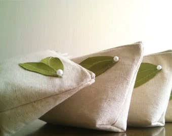Green Leaf Eco Bridesmaid Wedding Clutch Purse, Linen, Bridemsaids Gift, Wedding - Set of 3