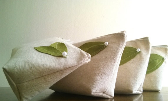 Green Leaf Eco Bridesmaid Wedding Clutch Purse, Linen, Bridemsaids Gift, Wedding - Set of 3