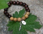 Yogi inspired wood bead bracelet with inspire and goddess charm perfect gift for friend or mentor