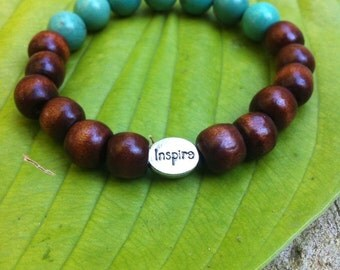 Yogi inspired wood bead bracelet with inspire bead and turquoise perfect gift for teacher mentor