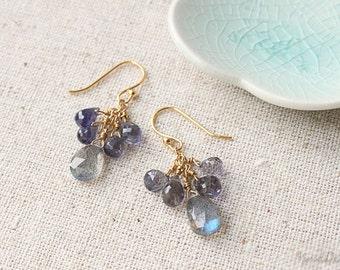 Midnight Sky Earrings, Labradorite & Iolite Gemstone Earrings