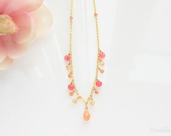 Fanta Crush Gemstone Necklace - Pink and Orange Gemstone Jewelry, Wedding Jewelry