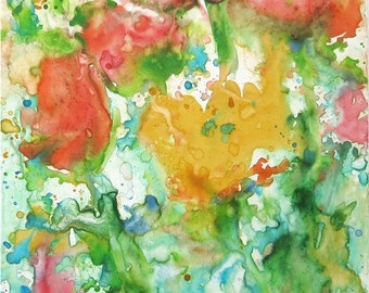 Fresh Flower Abstract -  Mother's Day Present, Original Fine Art  Contemporary Watercolor Painting by ebsq Artist Ricky Martin FREE SHIPPING