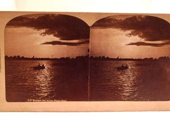 Niagara Falls Stereoscope Vintage 1900s Antique Moonlight Niagara Falls New York Bierstadt Stereoview Vintage Photo Side by Side photograph