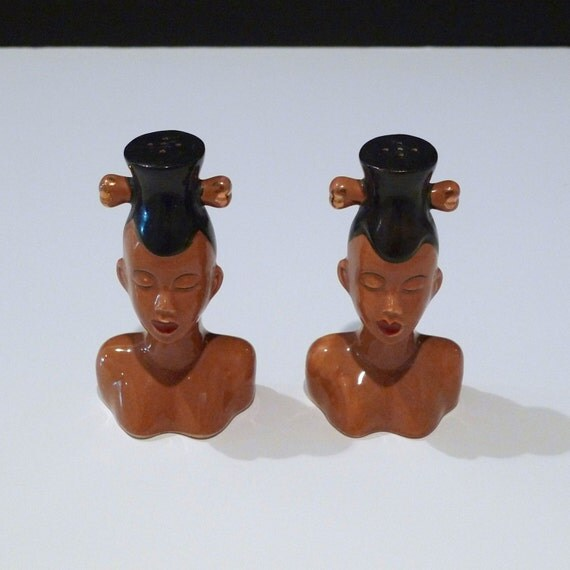 African Woman Figure Salt and Pepper Shakers Vintage Female Bust Tiki Exotica 1950s Japan Tribal Ethnic Kitchen Decor
