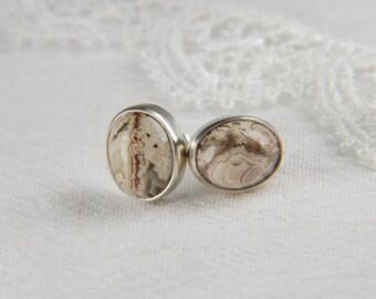 Lace Agate Earrings Earthy Earrings Natural Stone Earrings Large Stone Earrings Lace Agate Jewelry