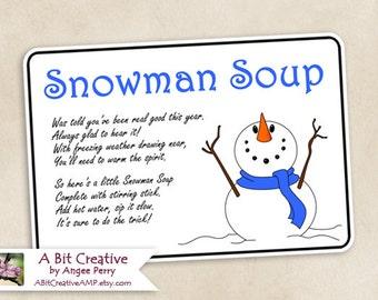 Snowman Soup Winter Hanukkah Christmas Gag Gift Design - DIY Printable