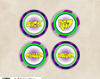 Graphic Design - Skater Theme Party - Cupcake Toppers - DIY Printable, Graffiti, Neon, Dots, Purple, Yellow, Lime Green, Blue, Gray, Black