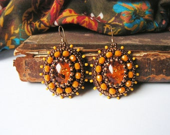 Honey yellow Beadwork Earrings Bead embroidery earrings Yellow dangle Earrings Amber Earrings Bead embroidered jewelry MADE TO ORDER