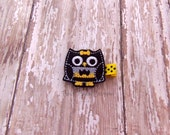 Superhero Owl Hair Clip, Bat man Owl, Felt Owl Clippie, Owl Hair Bow, Owl Feltie, Embroidered Hair Clips for Baby, Toddler or Girls