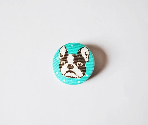 French Bulldog/Pug Turquoise Dotty Covered Button Brooch