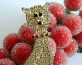 Huge Beautiful Blinging Crystal Clear Rhinestone Cat Brooch with Coloured Details- Figural Articulated Tail Silver Red Black Sitting Seated