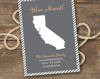 State Map Moving Announcement, New Address Card Printable - Stripes