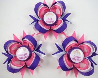 Big Sister, Middle Sister and Little Sister Hair Bows - Big Sister Hair Bow - Middle Sister Hair Bow - Little Sister Headband - YOU CHOOSE