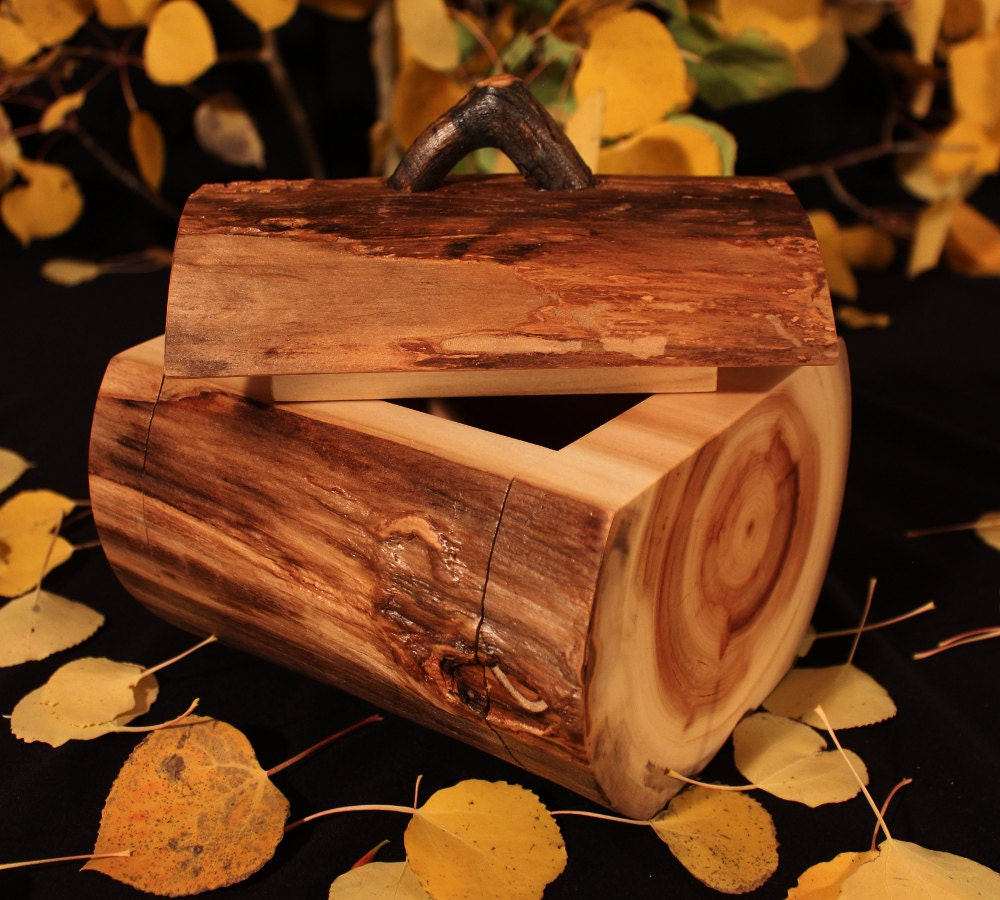 rustic log box aspen wood home d cor accent by therusticnature