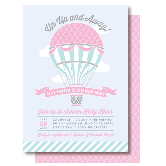 Hot Air Balloon Baby Shower Invitations by DelightPaperie on Etsy