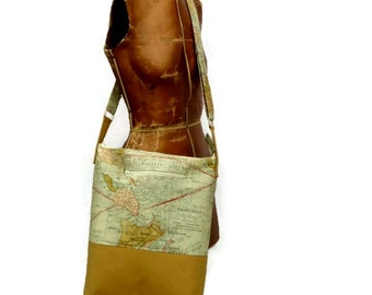 Crossbody World Map Bag, Messenger Style Vegan Purse, Zipper Close Cotton Canvas Cross Body Tote