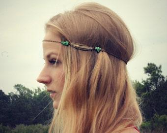 feather head chain, chain headband, feather headband, metal headband, unique headband